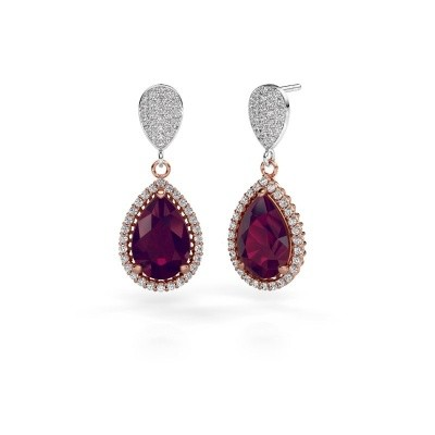 Picture of Drop earrings Cheree 2 585 rose gold rhodolite 12x8 mm
