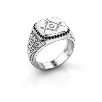 Men's ring Hugo 375 white gold black diamond 0.306 crt