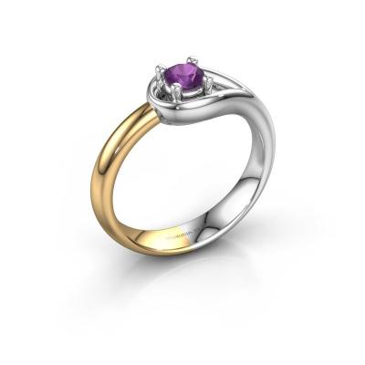 Ring Fabienne 585 witgoud amethist 4 mm