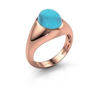 Ring Zaza 375 rosé goud blauw topaas 10x8 mm