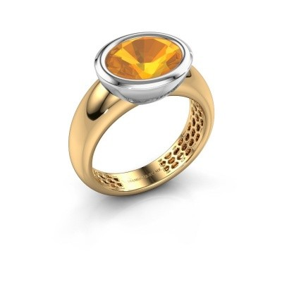 Bague Evelyne 585 or jaune citrine 10x8 mm