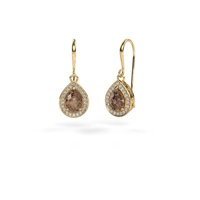 Drop earrings Beverlee 1 375 gold brown diamond 1.41 crt