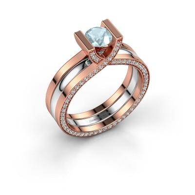 Foto van Ring Kenisha 585 rosé goud aquamarijn 5 mm
