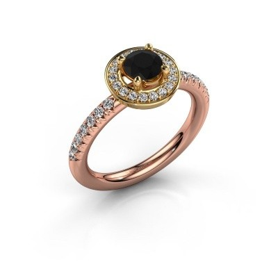 Foto van Ring Christine 585 rosé goud zwarte diamant 0.945 crt