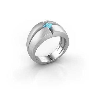 Foto van Heren ring Rens 925 zilver blauw topaas 3.5 mm