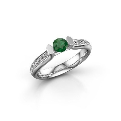 Foto van Verlovingsring Ashlyn 2 585 witgoud smaragd 4.2 mm
