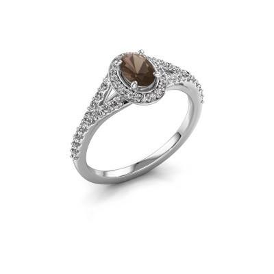 Belofte ring Pamela OVL 585 witgoud rookkwarts 7x5 mm