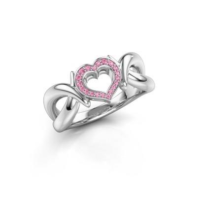 Ring Earlie 1 950 platina roze saffier 1.1 mm