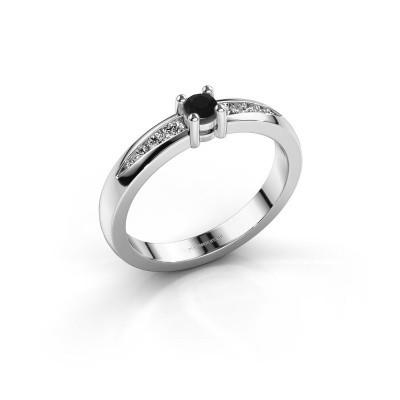 Verlovingsring Zohra 925 zilver zwarte diamant 0.257 crt