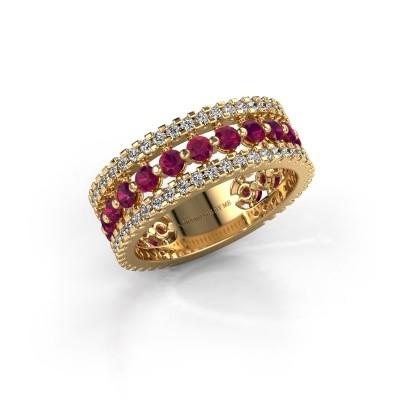 Verlovingsring Elizbeth 2 375 goud rhodoliet 2.4 mm