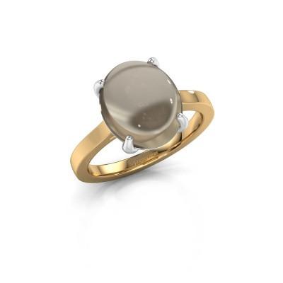 Foto van Ring Mallie 1 585 goud rookkwarts 12x10 mm