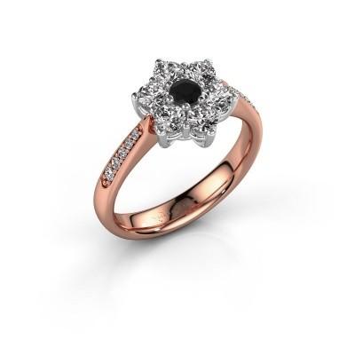 Verlovingsring Chantal 2 585 rosé goud zwarte diamant 0.12 crt