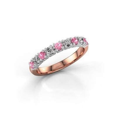 Foto van Aanzoeksring Rianne 9 585 rosé goud roze saffier 2.4 mm