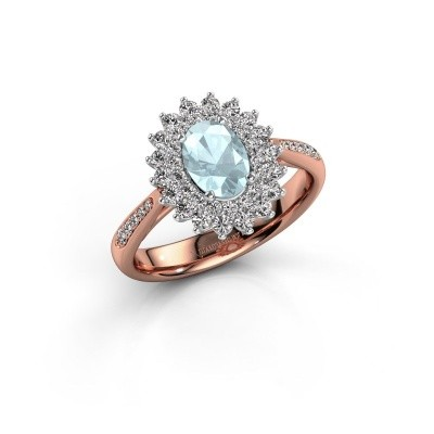 Engagement ring Alina 2 585 rose gold aquamarine 7x5 mm