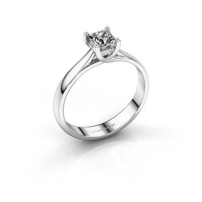 Foto van Aanzoeksring Mia Square 585 witgoud diamant 0.40 crt