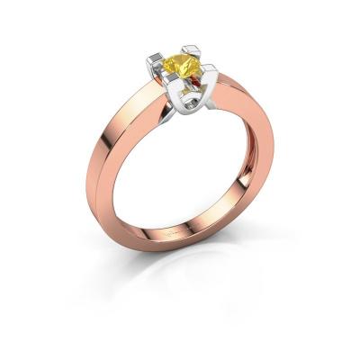 Verlovingsring Nina 1 585 rosé goud gele saffier 3.7 mm