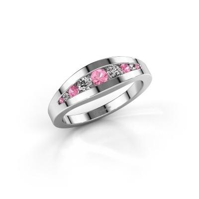 Ring Oneida 925 zilver roze saffier 3 mm