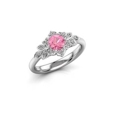 Foto van Verlovingsring Tatjana 585 witgoud roze saffier 5 mm