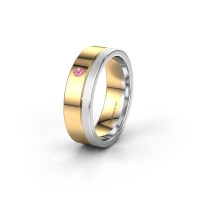 Trouwring WH0301L16APM 585 goud roze saffier ±6x1.7 mm
