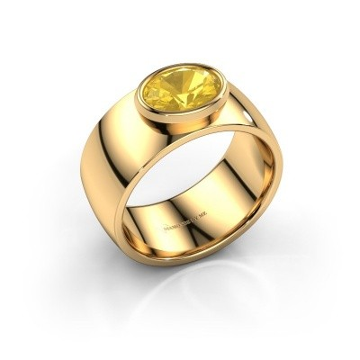 Ring Wilma 1 585 goud gele saffier 8x6 mm