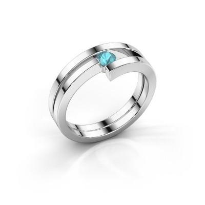 Ring Nikia 925 zilver blauw topaas 3.4 mm