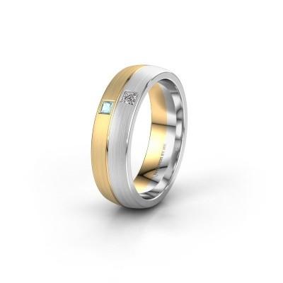 Trouwring WH0250L26BM 585 goud aquamarijn ±6x2 mm