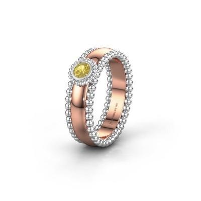 Trouwring WH3053L16A 585 rosé goud gele saffier ±6x1.7 mm