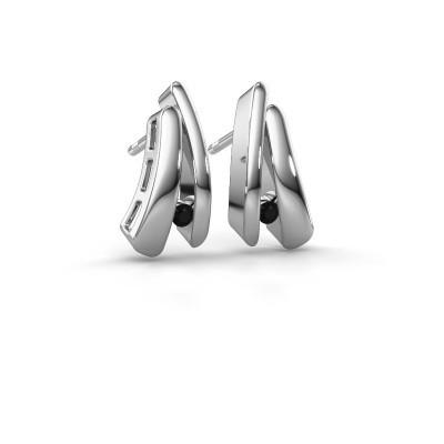 Foto van Oorbellen Liesel 925 zilver zwarte diamant 0.072 crt