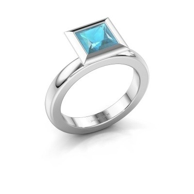 Stapelring Trudy Square 925 zilver blauw topaas 6 mm