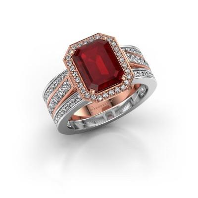 Foto van Ring Dodie 3 585 rosé goud robijn 9x7 mm