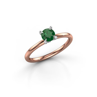 Foto van Verlovingsring Crystal RND 1 585 rosé goud smaragd 5 mm