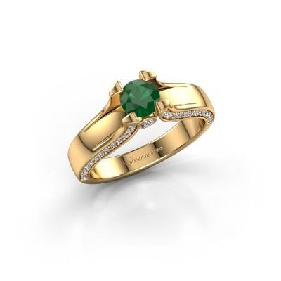 Verlovingsring Jeanne 1 375 goud smaragd 5 mm