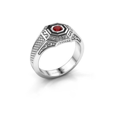 Foto van Heren ring Dion 925 zilver robijn 4 mm