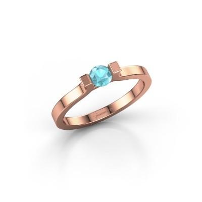 Foto van Verlovingsring Jodee 375 rosé goud blauw topaas 5 mm