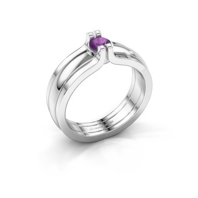 Picture of Ring Jade 925 silver amethyst 4 mm