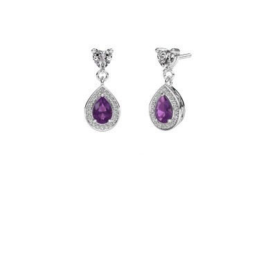 Drop earrings Susannah 950 platinum amethyst 6x4 mm