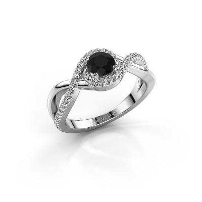 Foto van Verlovingsring Melody 585 witgoud zwarte diamant 0.60 crt