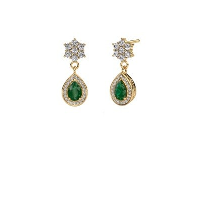 Picture of Drop earrings Era 375 gold emerald 6x4 mm