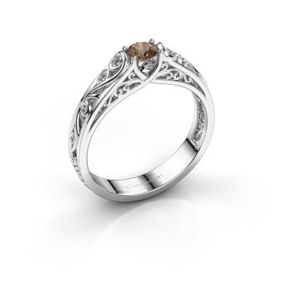 Foto van Ring Quinty 925 zilver bruine diamant 0.335 crt