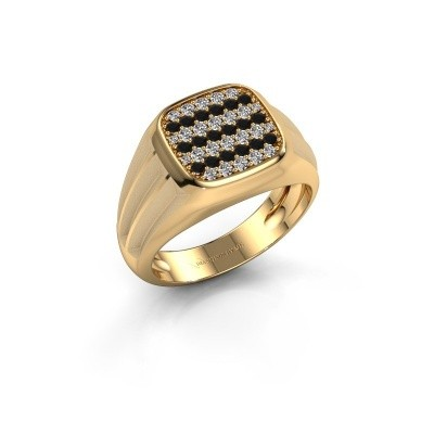 Foto van Pinkring Robbert 585 goud zwarte diamant 0.610 crt