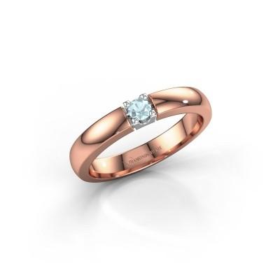 Engagement ring Rianne 1 585 rose gold aquamarine 3 mm