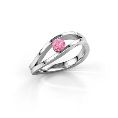 Foto van Ring Sigrid 1 925 zilver roze saffier 4 mm