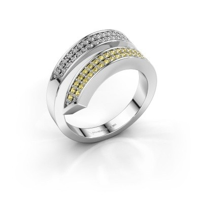 Ring Pien 950 platina gele saffier 1.2 mm