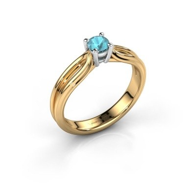 Verlovingsring Antonia 1 585 goud blauw topaas 4 mm