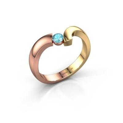 Ring Arda 585 rosé goud blauw topaas 3.4 mm