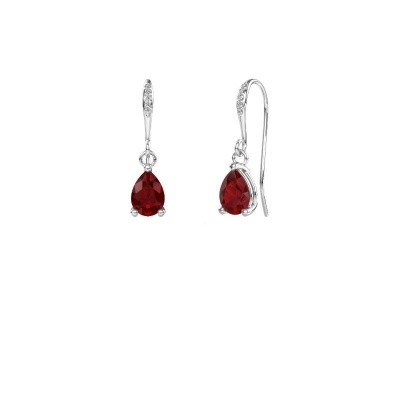 Picture of Drop earrings Laurie 2 375 white gold ruby 7x5 mm