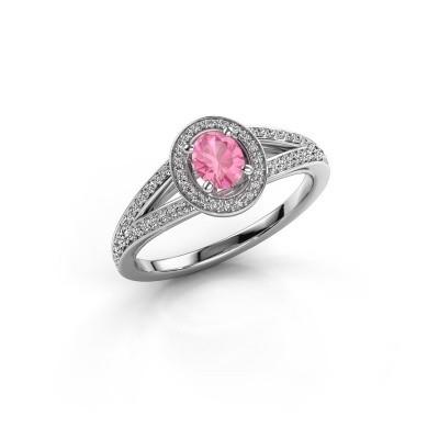Foto van Verlovings ring Angelita OVL 585 witgoud roze saffier 6x4 mm