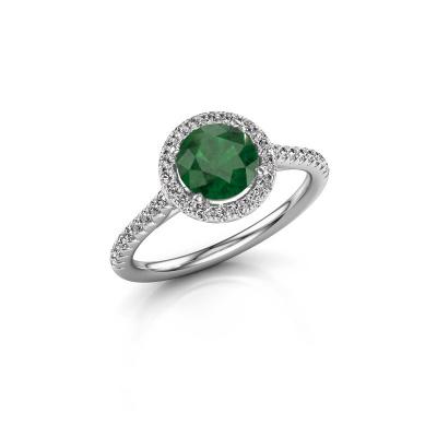 Foto van Verlovingsring Seline rnd 2 925 zilver smaragd 6.5 mm