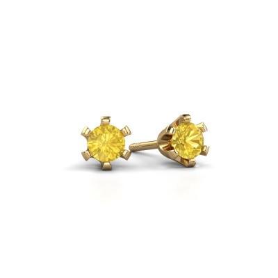 Oorstekers Shana 375 goud gele saffier 4 mm