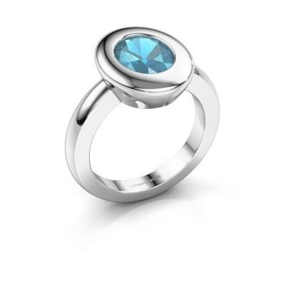 Ring Selene 1 950 platina blauw topaas 9x7 mm